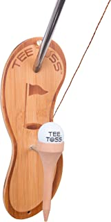 Golf Ball Deluxe Toss Game - 100% Bamboo - Be The First to Land The Ball Up On The Tee! (All Parts Included)