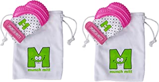 Munch Mitt® Teething Toy Stays on Baby's Hand is Self-Soothing Entertainment and Gives Pain Relief from Teething plus it's an Ideal Baby Shower Gift with a Handy Travel/Laundry Bag- Set of 2 Pink