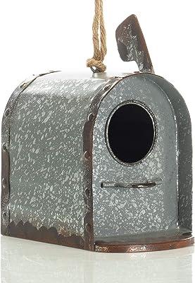 Drew DeRose Primitive Mailbox Galvanized Silver Tone 9 x 8 Metal Birdhouse