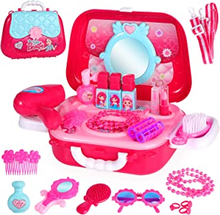 31 PCS Kids Princes Makeup Set Pretend Cosmetics Children Role Play Jewellry Kit Dress Up Kit with Carry Case Dressing Tab...