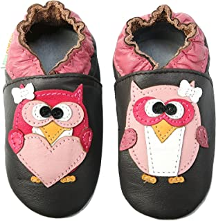 10be8dfa1027 Momo Baby Girls Soft Sole Leather Shoes - Pretty Owl