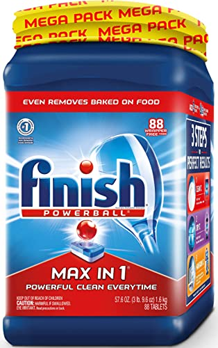 Finish Max in 1 Powerball Wrapper Free Dishwasher Detergent Tablets, 57.7 Oz, Count of 88