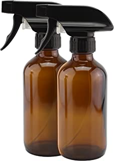 8-Ounce Amber Glass Spray Bottles (2 Pack); Brown Boston Round Bottles w/Heavy Duty Mist & Stream Sprayers Perfect for Aromatherapy Essential Oil Blends
