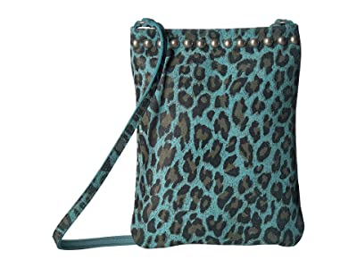 Leatherock Davina Cell Pouch (Turquoise Leopard) Cross Body Handbags