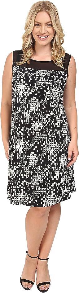 Plus Size Sleeveless Dotted Cityscape Dress with Chiffon Yoke