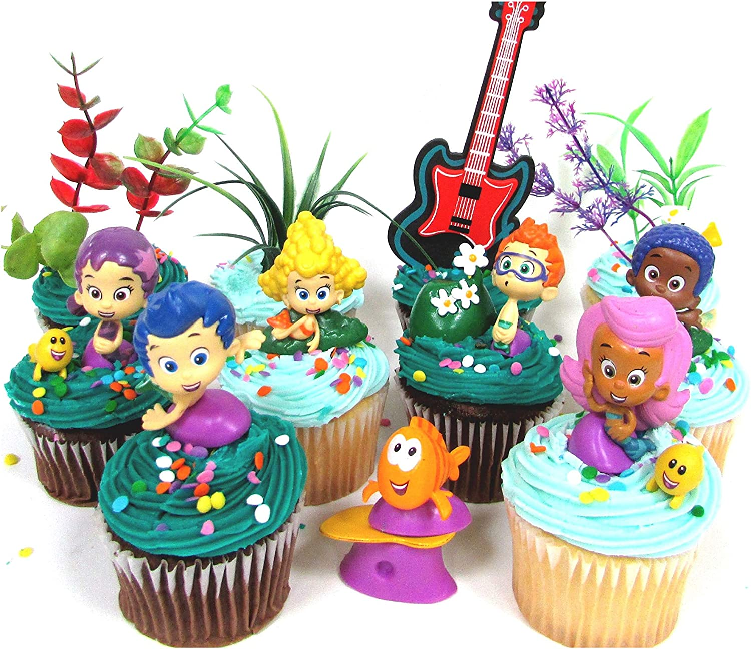 Bubble Guppies 19 Piece Birthday Cupcake Topper Set Featuring 12 Bubble Guppies 2 Characters