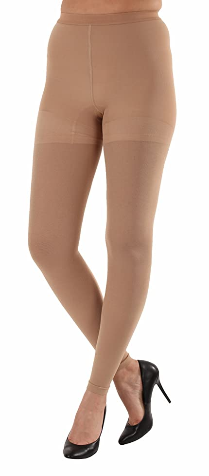Graduated Women's Compression Stockings Leggings with Control Top - Firm Graduated Support 20-30mmHg, Color Beige, Size 3XL, Absolute Support SKU: