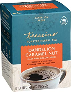 Teeccino Dandelion Tea – Caramel Nut - Roasted Herbal Tea | Organic Dandelion Root | Prebiotic | Caffeine Free | Gluten Fr...