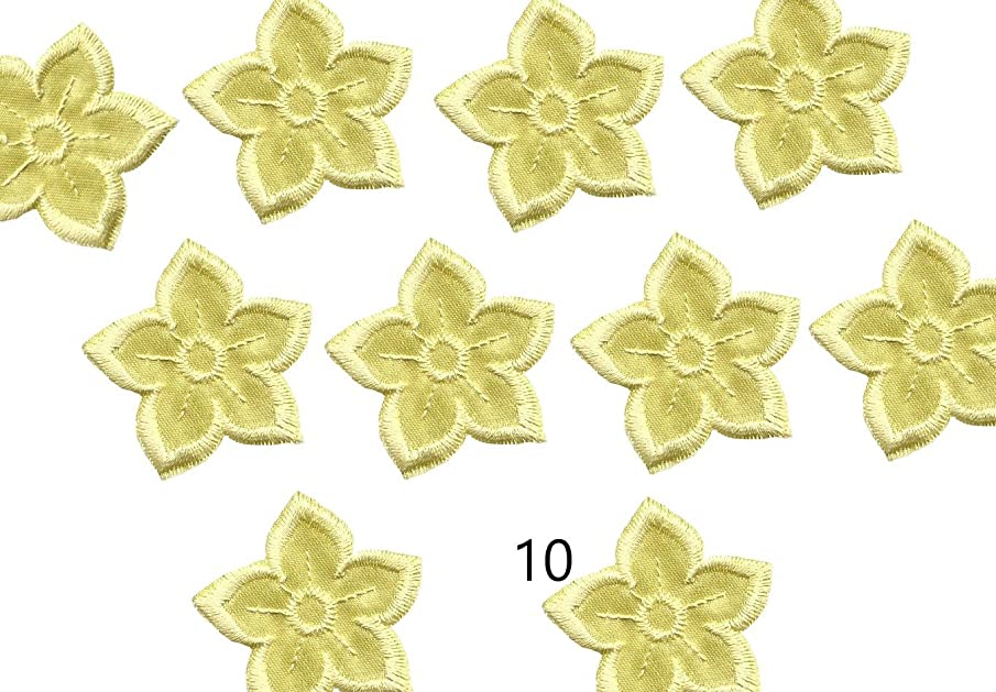 A-44, 10Yellow(Avega) Flower Iron O, Embroidered, Decorative Patches, Fashion Set (10yellow(Avega))
