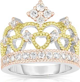 ARGENTO REALE Anillo de corona chapado en rodio para mujer, anillo de promesa para mujer, anillo de princesa reina, anillo...