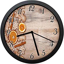 Gingerbread Man Modern Decor Wall Clock-10inch Dried Orange Slices Cinnamon Sticks Aromatic Sweet Biscuits Stars,No-ticking, single battery operation, energy saving and environmental protection