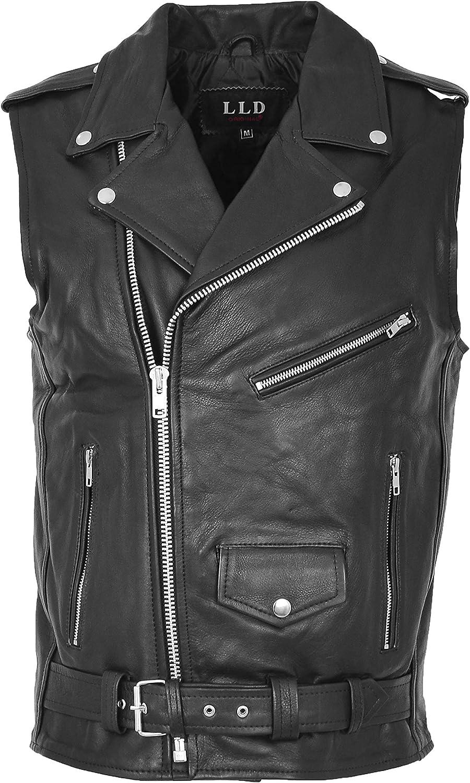 Mens Leather Biker Waistcoat Brando Gilet Cross Zip Style Jones Black