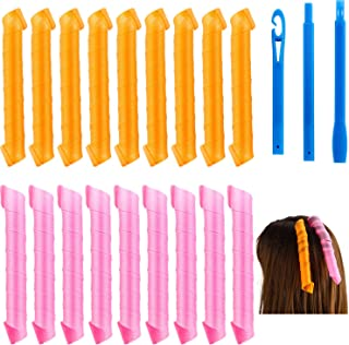 18 Pieces Hair Curlers Spiral Curls Magic Styling Kit No Heat Hair Curlers Colored Hair Rollers with Styling Hook Tools fo...