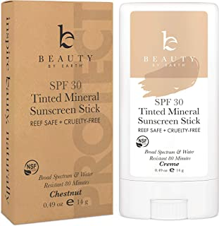 Mineral Tinted Sunscreen Stick - Zinc Oxide Sunscreen Lotion Stick Made with Organic Ingredients, Best Sun Protection Trav...