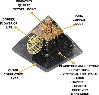 Orgone Pyramid - Reiki Healing Emf Protection Energy Generator - Black Tourmaline Crystal Orgonite Pyramid for Chakra Balance - Panic Attacks Protection Inner Strength Meditation Booster