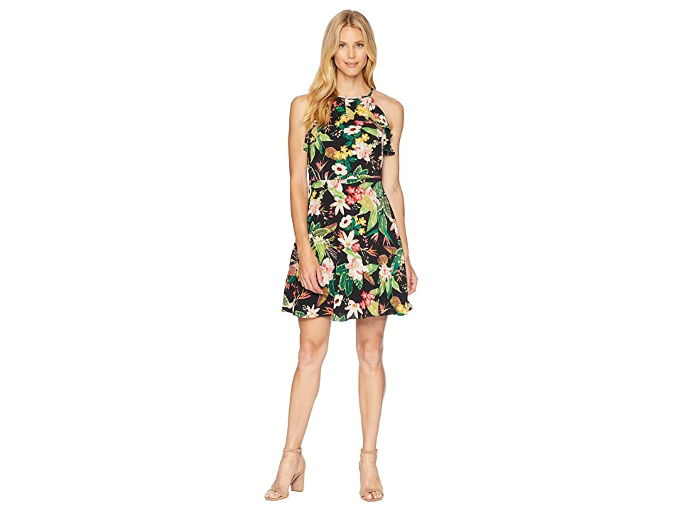 London Times Printed Crepon Fit Flare Dress (Black Multi) Women