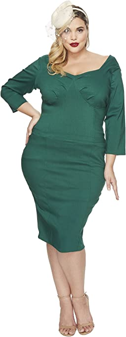 Unique Vintage - Plus Size Sleeved Joanie Wiggle Dress