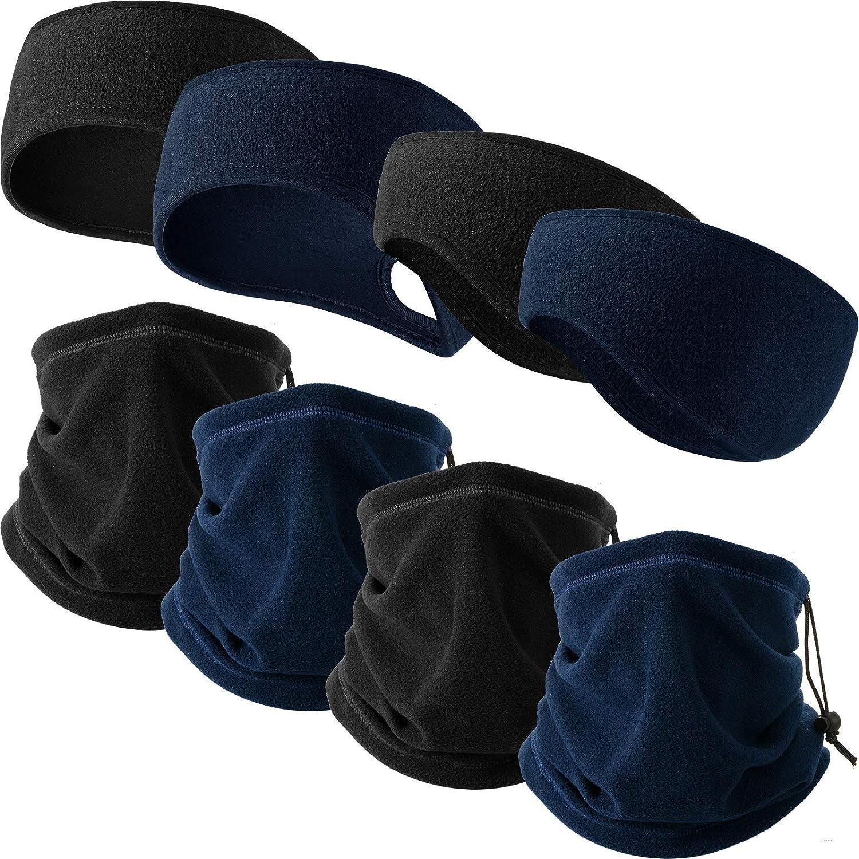 8 Pieces Fleece Ear Warmers Headband Winter Neck Gaiter Ponytail Winter Running Headbands for Outdoor Activities Women Men 2 Colors