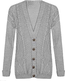 f214ca816c Cardigan Womens Cable Knit Chunky Ladies Grandad Boyfriend Pocket Button up  Top