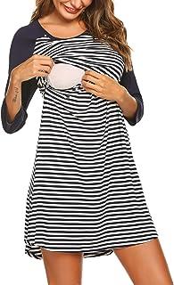 a46a0862cc5 Ekouaer Women s Maternity Dress Nursing Nightgown for Breastfeeding  Nightshirt Sleepwear ...