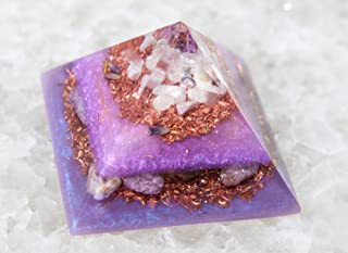 Violet Flame Orgone Amethyst Orgonite Energy Generator Pyramid with Prehnite Howlite Moonstone for EMF Protection Healing ...