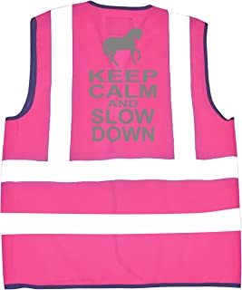 Keep Calm and Slow Down ' Bright Pink Equestrian Safety high visibilty Vest with Silver Print
