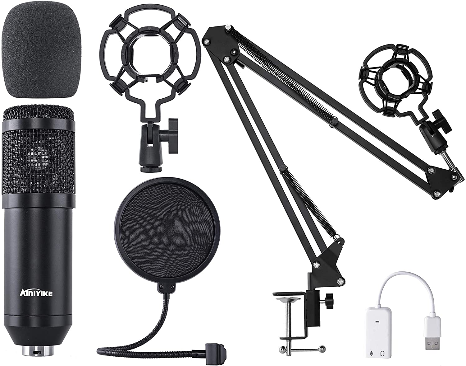 AInIYIKE Condenser Microphone Challenge the lowest price of Japan Max 45% OFF ☆ TM-800 Mic Set for Recordi Studio