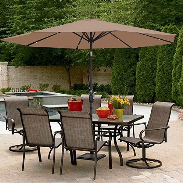 SUPER DEAL 10FT Solar LED Lighted Patio Umbrella Outdoor Market Table Umbrella Push Button Tilt Adjustment Crank Lift System Aluminum Ribs For Patio Garden Backyard Deck Poolside And More