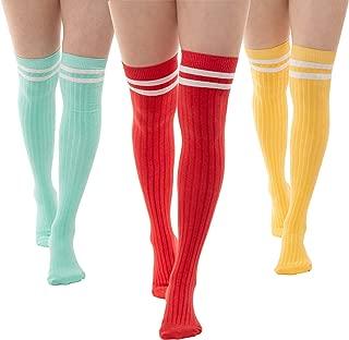 3 Thigh Length Socks | Womens Striped Cotton Thigh High Tube Sock | Girls Over Knee Boot Socks