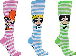 Powerpuff Girls Socks Gifts (3 Pair) - (Women) Powerpuff Girls Costume Blossom, Bubbles, Buttercup Knee High Socks - Fits Shoe Size: 4-10 (Ladies)