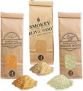 comprar comparacion Smokey Olive Wood 3X 300ml, serrín de Madera para ahumar, Olivo + Haya, Naranjo, Almendro