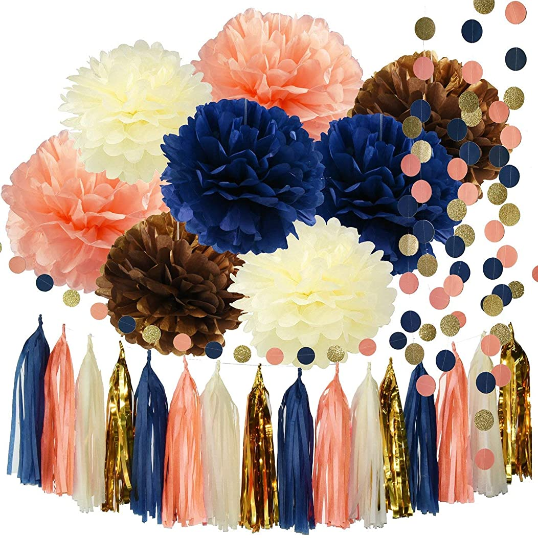 Monkey Home 26pcsTissue Paper Pom Poms Tassel Garlands Circle Dot Paper Garland for Bridal Shower Decorations Birthday Wedding Party Decor (Navy Peach Glitter Gold)