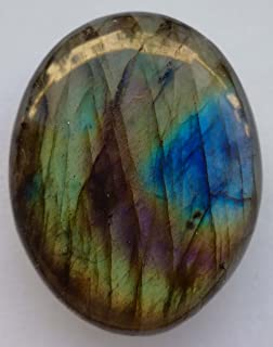 Pierre naturelle, galet plat pour la poche, galet extra plat de Labradorite (20 à 30 g/ 4cm X 3 cm X 0.8cm)