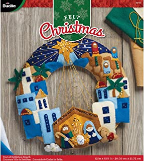 Bucilla 86734 Felt Applique Wreath Town of Bethlehem, Size 13 x 12.5-Inch