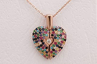 Turkish Handmade Jewelry Heart Special Design 925 Sterling Silver Inside is open Round Cut Sapphire Turquoise Pink Ruby Emerald Citrine White Topaz Rose Gold Chain Necklace
