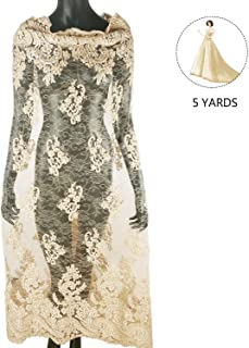 NJHG 5 Yards Lace Fabric Embroidered with Pearls Sewn by Hand, Tulle Fabric Lace for Party Wedding Dress