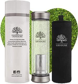 UEndure Glass Tea Infuser Bottle + Strainer | 14oz Tea Tumbler – Loose Leaf Tea..