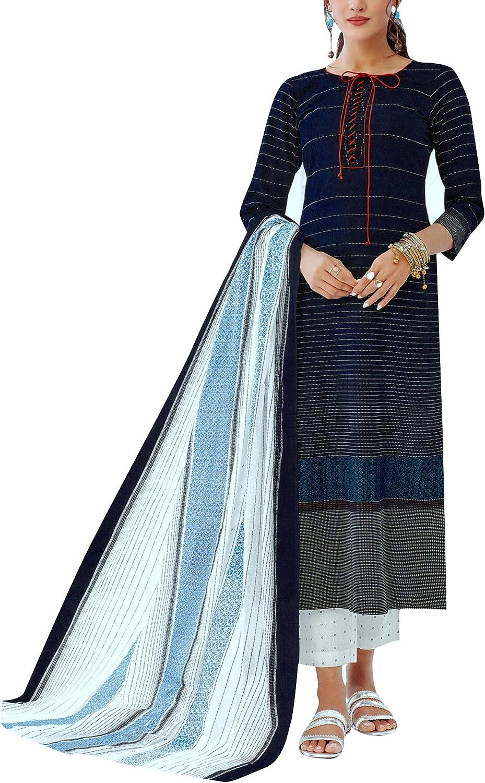 ladyline Womens Casual Printed Salwar San Francisco Mall Chiffon Dupatt Kameez Save money with