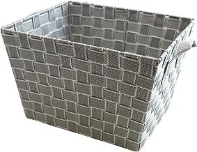 Multi-Purpose Woven Shelf Storage Tote Basket (Silver)