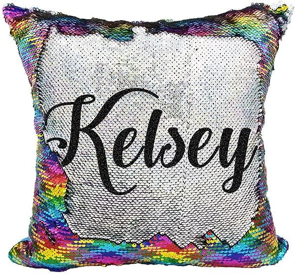 YUUNITY Personalized Mermaid Reversible Sequin Pillow Custom Unicorn Sequin Pillow For Girls Rainbow Silver