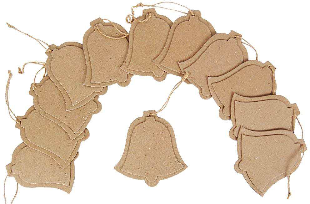 Country Love Crafts Bell Hanging Tag Papier Mache, Pack Of 12