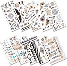 Aboat 10 Sheets Metallic Temporary Tattoos 200 Shimmer Designs (Gold, Silver, Black)
