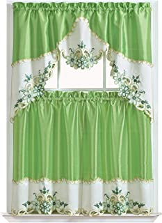 GOHD Golden Ocean Home Decor Arch Floral Kitchen Cafe Curtain Set. Window Treatment Set for Small Windows. Nice Matching Color Floral Embroidery on Border with cutworks (Greenery)