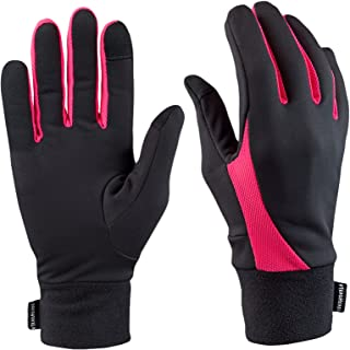 TrailHeads Running Gloves for Women | Lightweight Gloves with Touchscreen Fingers -Black/Bright Coral