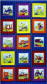 RJR Fashion Fabrics Zaffre Blue Monster Truck Blocks with Rocks 24.5in Panel Fabric