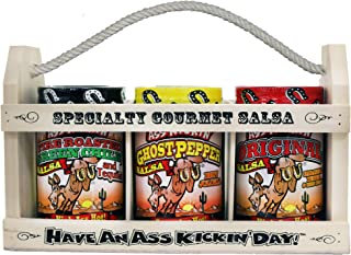ASS KICKIN' Hot Spicy Salsa Gift Set- 3 Pack - Premium Gourmet Original Habanero, Ghost Pepper and Green Chile and Tequila...