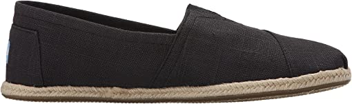 Washed Black Linen Rope Sole