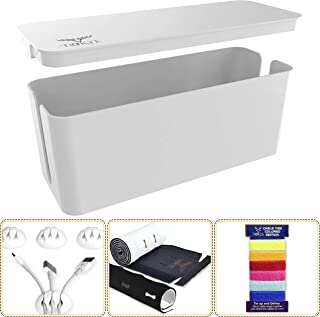 Cable Management box, Cord Organizer and Cover with Cable Kit - Desk, wall mounted TV, Video, Game and Computer Wire holder, hider, protector with Cable Sleeve ,white edition by Tokye XXL VALUE