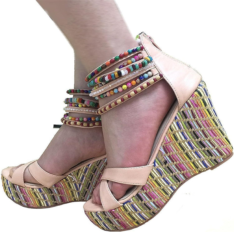 Pilusooou Elegant Women's Weave Wedge With Pearls Across The Top Platform High Heels