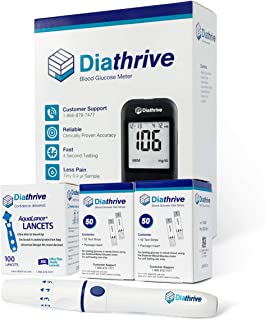Diathrive Blood Glucose Monitoring Kit - Diathrive Blood Glucose Meter, 100 Blood Test Strips, 1 Lancing Device, 30 Gauge Lancets-100 Count, Control Solution, Logbook, and Carrying Case